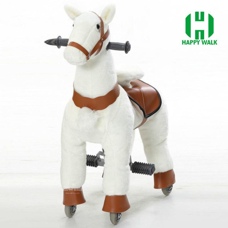 HOT Sale S Size Kid Mechanical Walking Horse Toy Rocking Animal Ride Plush Toys Riding Horse Colt on Wheels Children Gifts Foal