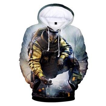 3D Rainbow Six Siege Лидер продаж толстовки кофты приставка для видеоигр верхняя одежда с капюшоном повседневное одежда весна/осень 2018 4XL