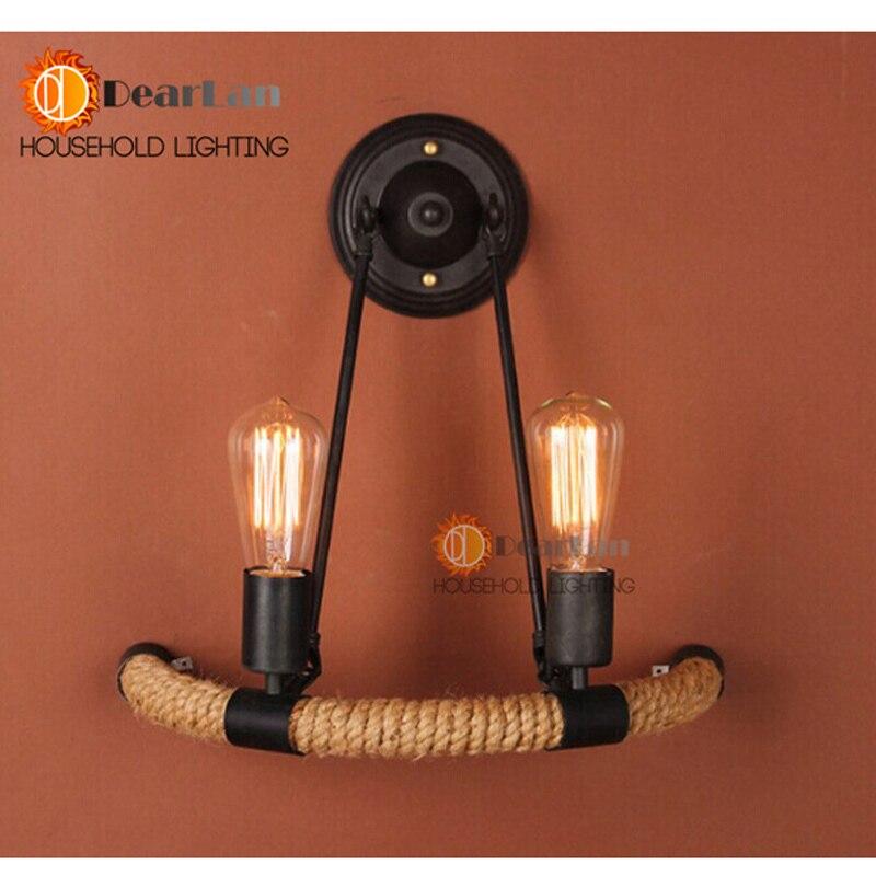 ФОТО Vintage Edison Item 2-Head Good Looking Rope Wall Lamp Vintage Bedside Wall Light For Living Room Bedroom Decoration[BT-50]