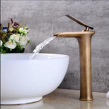 Antigo bacia torneiras cachoeira torneira do banheiro único punho misturador da bacia banho antigo torneira de bronze pia água guindaste