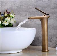 Antique Basin Faucets Waterfall Faucet Bathroom Faucet Single handle Basin Mixer Tap Bath Antique Faucet Brass Sink Water Crane