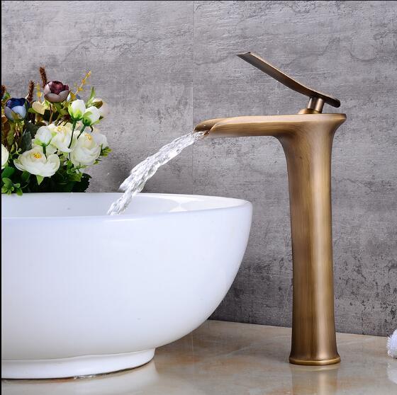 Antique robinets de bassin cascade robinet salle de bain robinet mitigeur de lavabo robinet de bain Antique robinet en laiton évier grue à eau