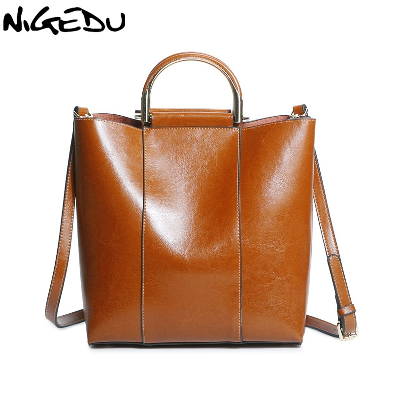 NIGEDU Brand Genuine Leather Bag Women Handbag Soft Oil Wax Leather Women's Shoulder Bag Large Capacity Casual Totes bolsa new 2017 fashion brand genuine leather women handbag europe and america oil wax leather shoulder bag casual women