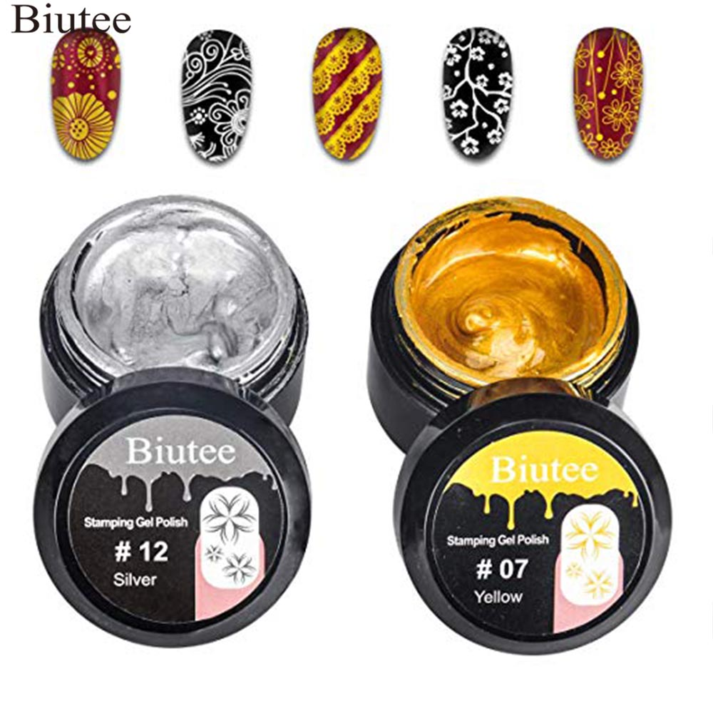 Biutee 2PCS Gold Silver Nail stamping gel polish UV LED Gel Polish for nail plate (Gold&Silver Gel)