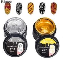 Biutee 2PCS Gold Silver Nail stamping gel polish UV LED Gel Polish for nail plate (Gold&Silver Gel)