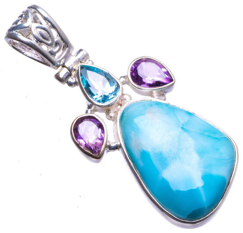 Natural Caribbean Larimar,Blue Topaz and Amethyst Handmade Unique 925 Sterling Silver Pendant 1.75 X1453