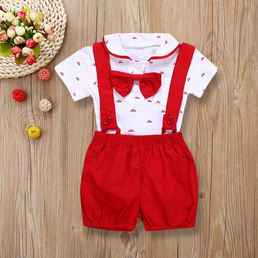 2 PCS Kids Baby Jongens Korte Mouw Romper Kleding + Peuter Broek Set Outfits babykleertjes pasgeboren baby jongen kleding set