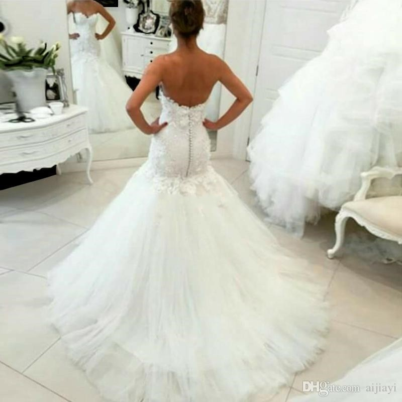 Image 2 - Hot Sale 2017 New Lace Mermaid Wedding Dresses 2017 Appliques Sweetheart Bride Dresses Elegant Wedding Gowns Casamento-in Wedding Dresses from Weddings & Events
