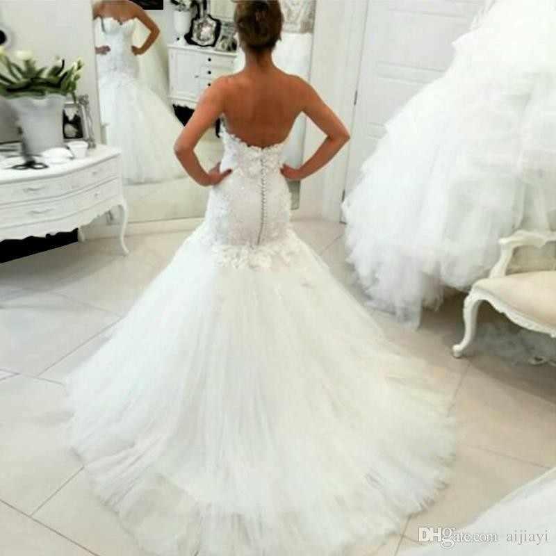 Hot Sale 2017 New Lace Sereia Vestidos de Casamento 2017 Apliques Querida Vestidos de Noiva Elegante Casamento Vestidos de Casamento