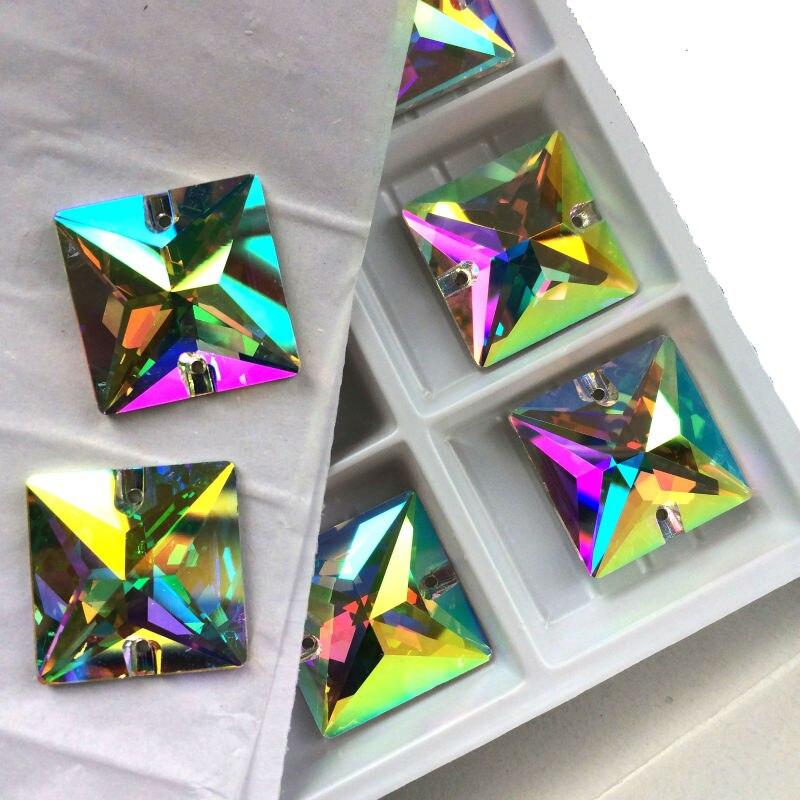 3240 Crystal AB Cuce Quadrato su Strass Cristalli Cucire Flatback Pietre di Cristallo Del Rhinestone Beads Craft Supplies