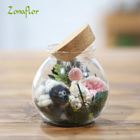 Zonaflor Artificial Rose Flower Bonsai In a Glass Craft Supplies for Living room table Decorative Eternal flowers for gift
