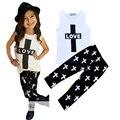 Retail baby girl clothing set amor impresa letra T-shirt + cruz estilo estilo pantalón de verano niños bebé ropa de verano vetement