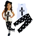 Retail baby girl clothing set love letter printed T-shirt + Cross pant summer style kids baby girl clothes summer style vetement