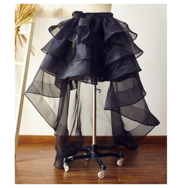 Organza 2018 High Low Black Long Skirts For Women Ruffles Ruched Tulle Skirt Zipper Custom Made