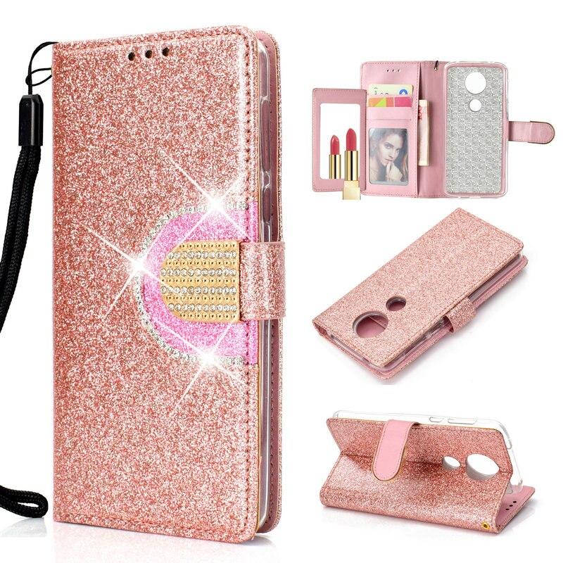 Bling Flip for Motorola Moto E5 Case Capa Motorola E5 Case Wallet for Motorola Moto E Plus (5th Gen) Wallet Cover Card Slot