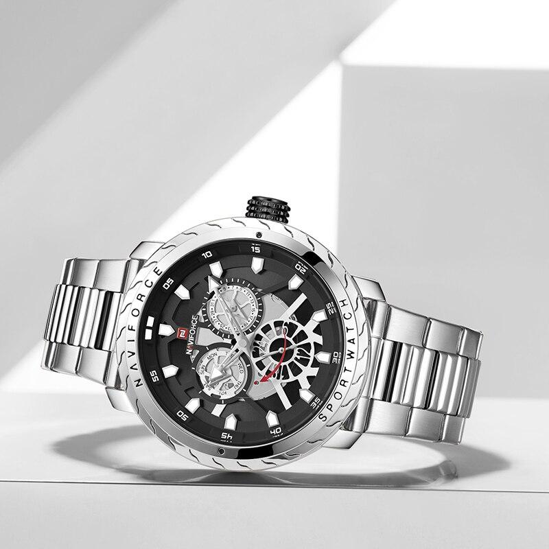 Image 4 - 2019 NAVIFORCE hommes montre de luxe Quartz Sport étanche militaire montre bracelet créatif horloge pleine acier montres Relogio MasculinoMontres à quartz   -