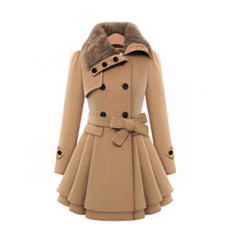 Spring Autumn Fur Collar Coat Women Woolen Blends Coats Double-breasted Warm Female Overcoat Belt Women's Long   Trench   Coat