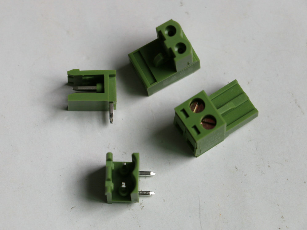20sets KF2EDG Push-pull Terminal Block Wire plug Connectors Pitch 5.08mm 2Pin 90 Degree Screw socket Female and male Green color