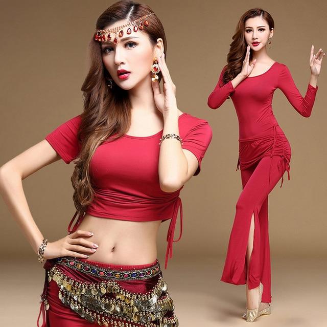 de679e944fe Sexy Modal Oriental Belly Dance Costume Set Crop Top Flare Pants for Women  Eastern Bellydance Indian Dancing Clothes Dancer Wear