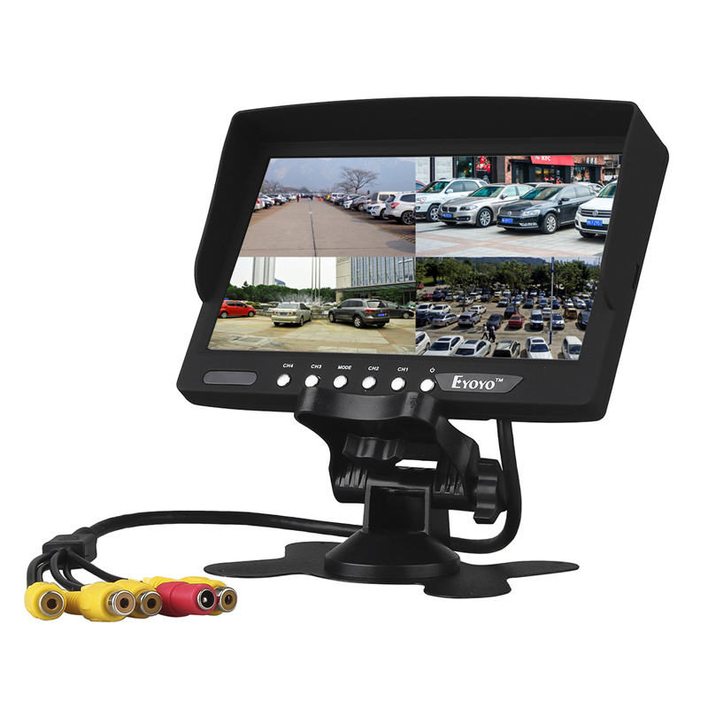 Eyoyo 7 Inch HD 4 Split Quad Video Display 4CH AV Input TFT LCD Car Rear View Monitor Free shipping podofo 9 tft lcd car monitor headrest display support 4 split screen for rear view camera dvd vcr remote control car styling