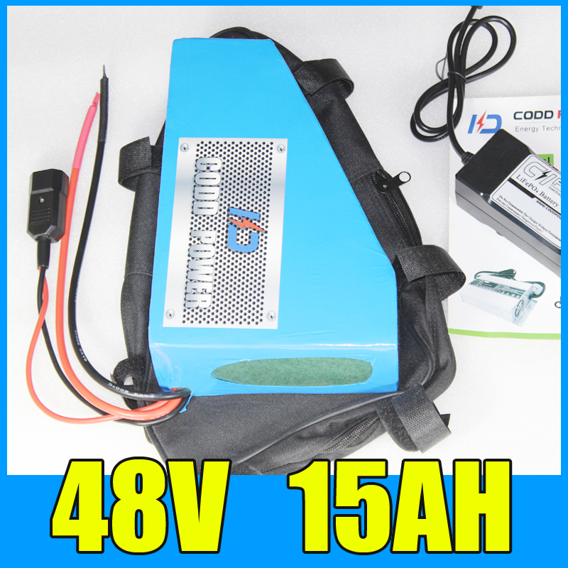 electric bike battery 48v 15ah Triangle lithium ion 48V 750W Free BMS Charger shipping and duty atlas bike down tube type oem frame case battery 24v 13 2ah li ion with bms and 2a charger ebike electric bicycle battery