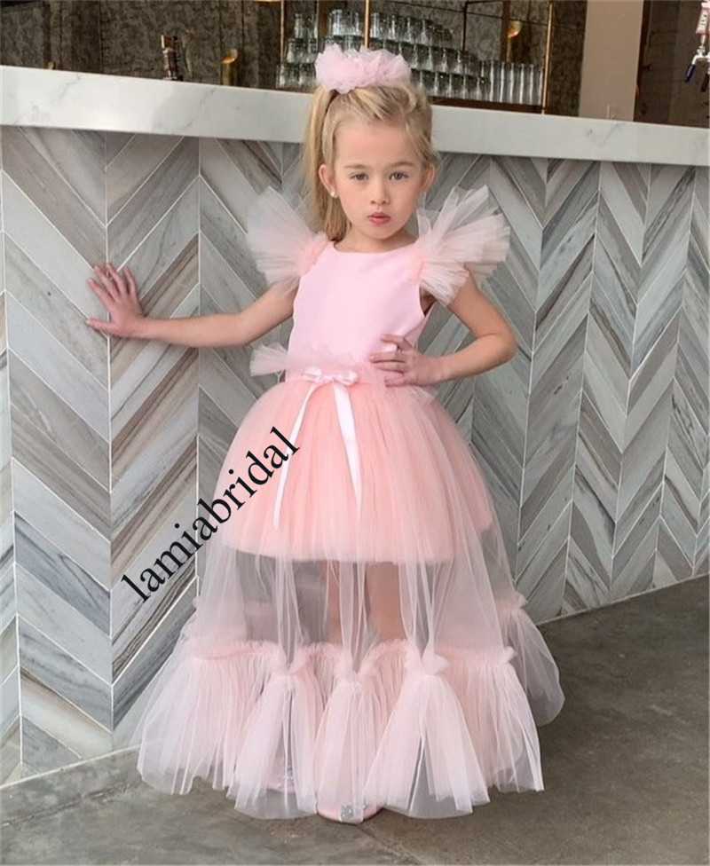 Us 124 99 Lovely Pink Cheap Flower Girls Dresses For Weddings 2019 A Line Ruffles First Holy Communion Dresses Girls Birthday Party Gowns In Flower