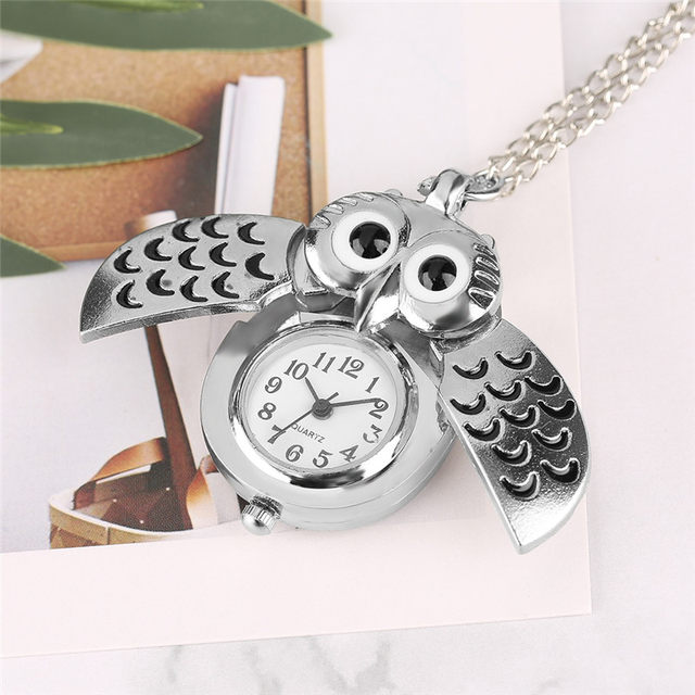 Online shop cute silver vintage night owl loverly pendant mini cute silver vintage night owl loverly pendant mini small quartz pocket watch women lady girl necklace animal clock birthday gift mozeypictures Images