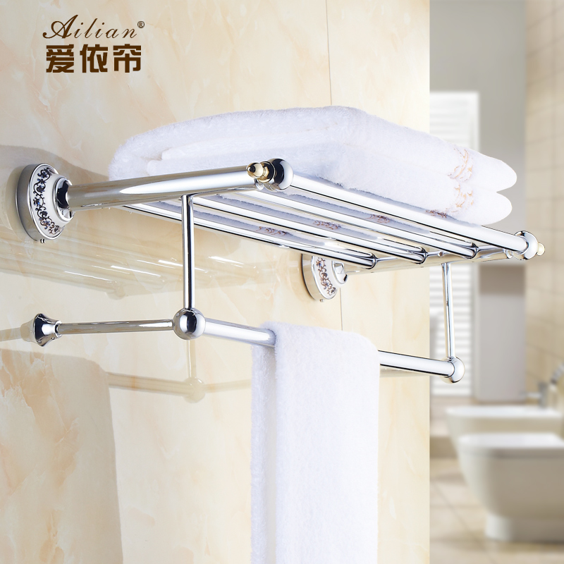 Bathroom Shelves Zinc Alloy Crystal Towel Rack Silver Ceramics Towel Shelf Wall Mounted Towel Holder Bathroom Accessories YM036 все цены