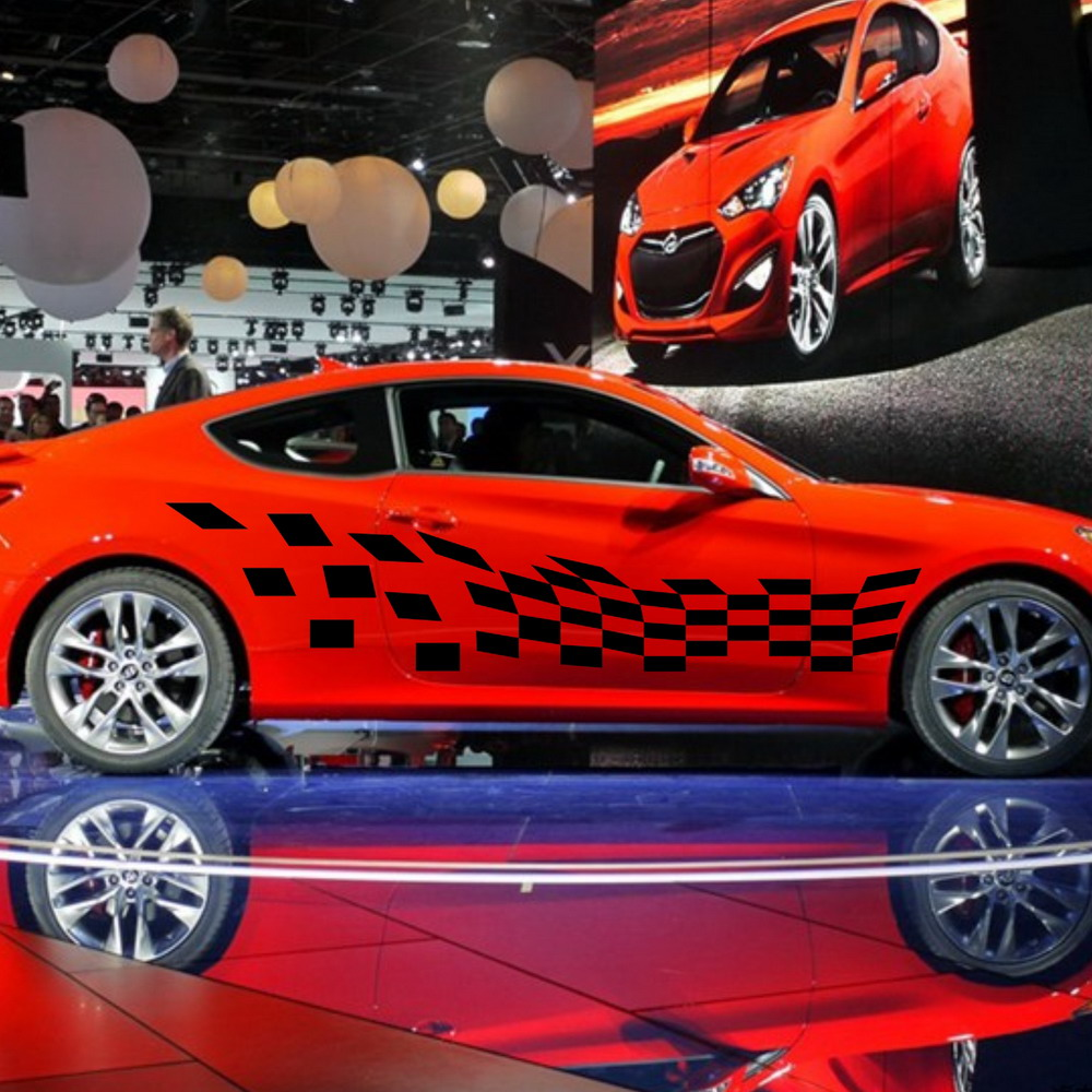 Design car flags - Car Racing Checkered Flags Door Decals For Coupe Vinyl Side Stickers 862 China