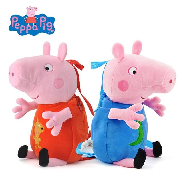 Original Peppa Pig Brinquedos de Pelúcia Meninas Meninos Crianças Saco  Kawaii Saco de Escola mochila 44