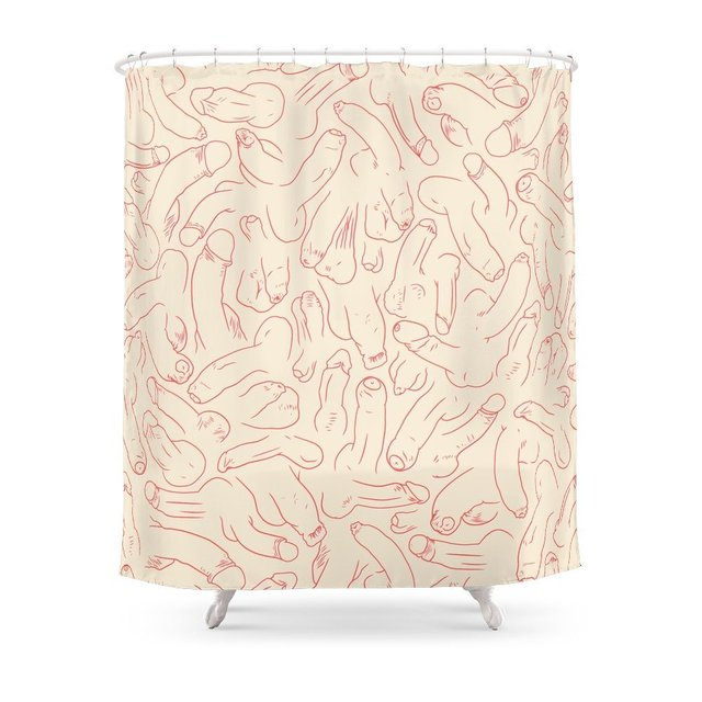 Penis Pattern Shower Curtain Polyester Fabric Bathroom Home Decoration Waterproof Print Curtains With Hooks