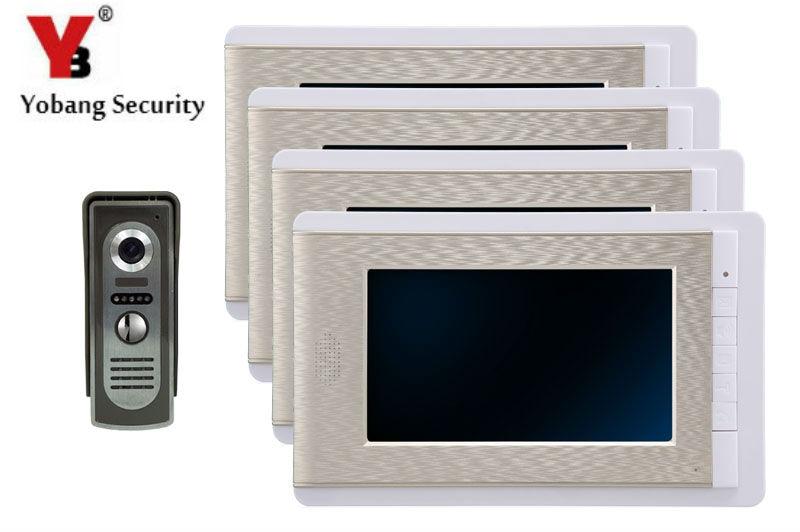 7 Inch Color LCD Villa Video Door Phone Doorbell Intercom Entry System Kit 4 Monitor 1