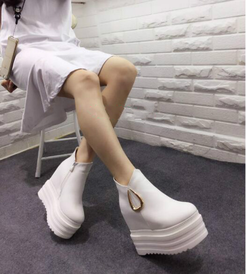 ФОТО Slope with the 2017 autumn and winter new 13cm increased high-heeled shoes Nightclub with high boots Short boots