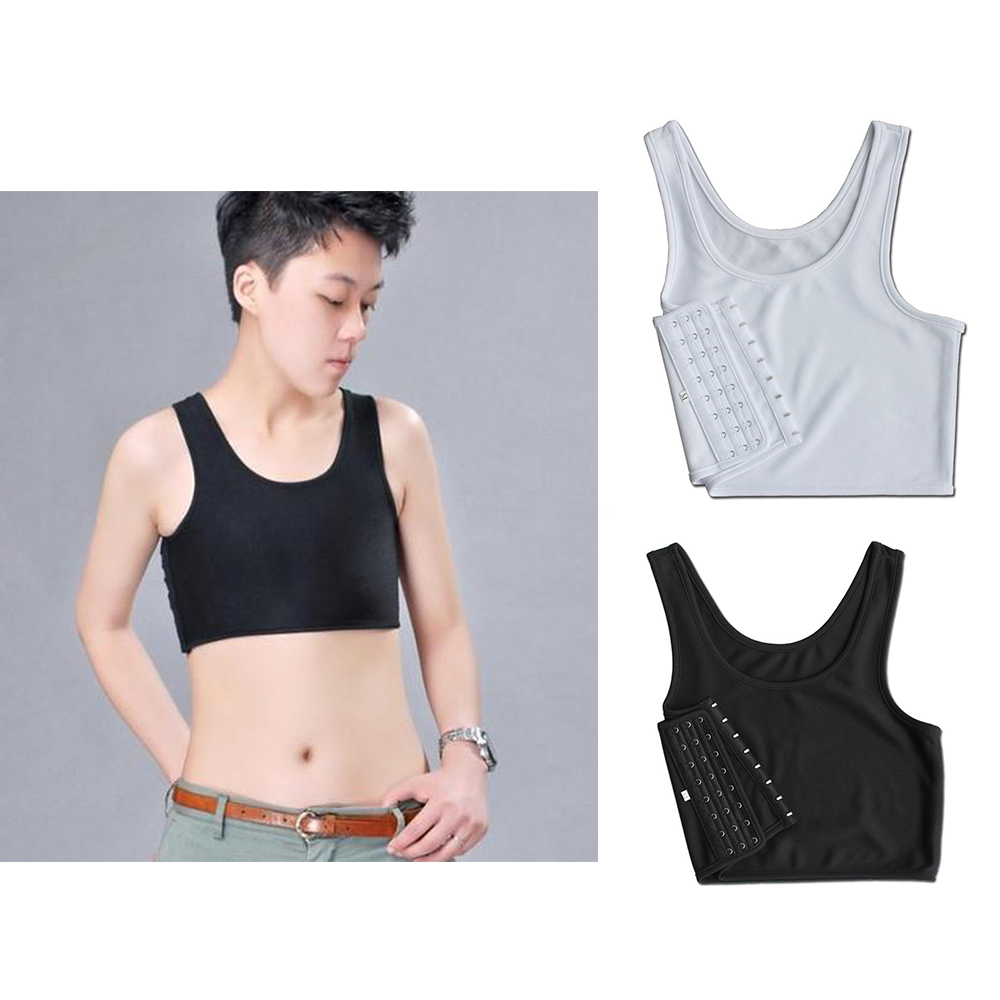 2020 New Breathable Buckle Short Chest Breast Binder Tran Vest Casual Shapers Tops Black And White Short Corset Tee Tops