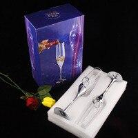 Sâm Banh cưới Pha Lê Mạ Bạc Nướng Flutes Dài Wine Kính Cup Kim Cương Ring cho Đảng Món Quà Trang Trí ZA3047