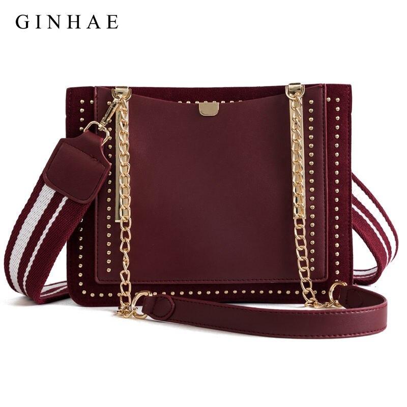 2018 Winter New Arrival Women Tote Bag Brand Designer Chain Shoulder Crossbody Bags Suede Leather Patchwork Rivet Bolsa Feminina