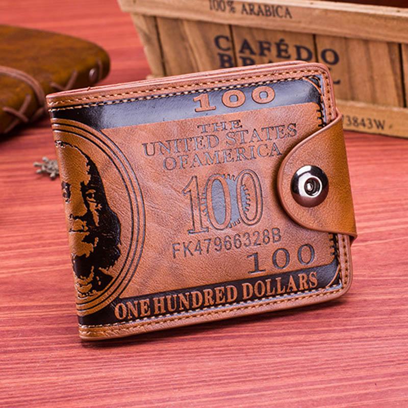 Men Vintage Wallet PU Leather Dollar Pattern Designer Men's Wallets Casual Credit Card Holder Purse Wallet For Male Money Bag (10)