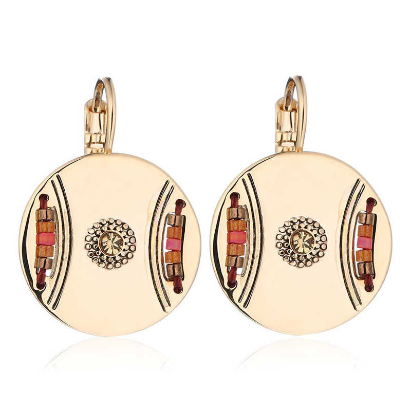 Resin Round Drop Earring For Women Gold Silver Color Copper Ethnic Female Dangle Hanging Earring Fashion Ear Jewelry Brinco 2019
