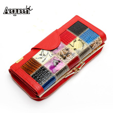 AEQUEEN Womens Wallet Patchwork Split Leather Wallet Women Long Purse Hasp Coin Purses Vintage European Womens Purse Lady Clutch