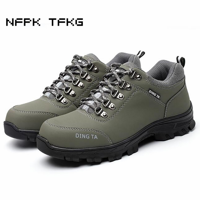 women casual breathable big size steel toe cap working safety shoes cow leather tooling boots puncture proof non-slip zapatos big size men casual breathable steel toe cap working safety shoes soft leather non slip tooling security boots protective zapato