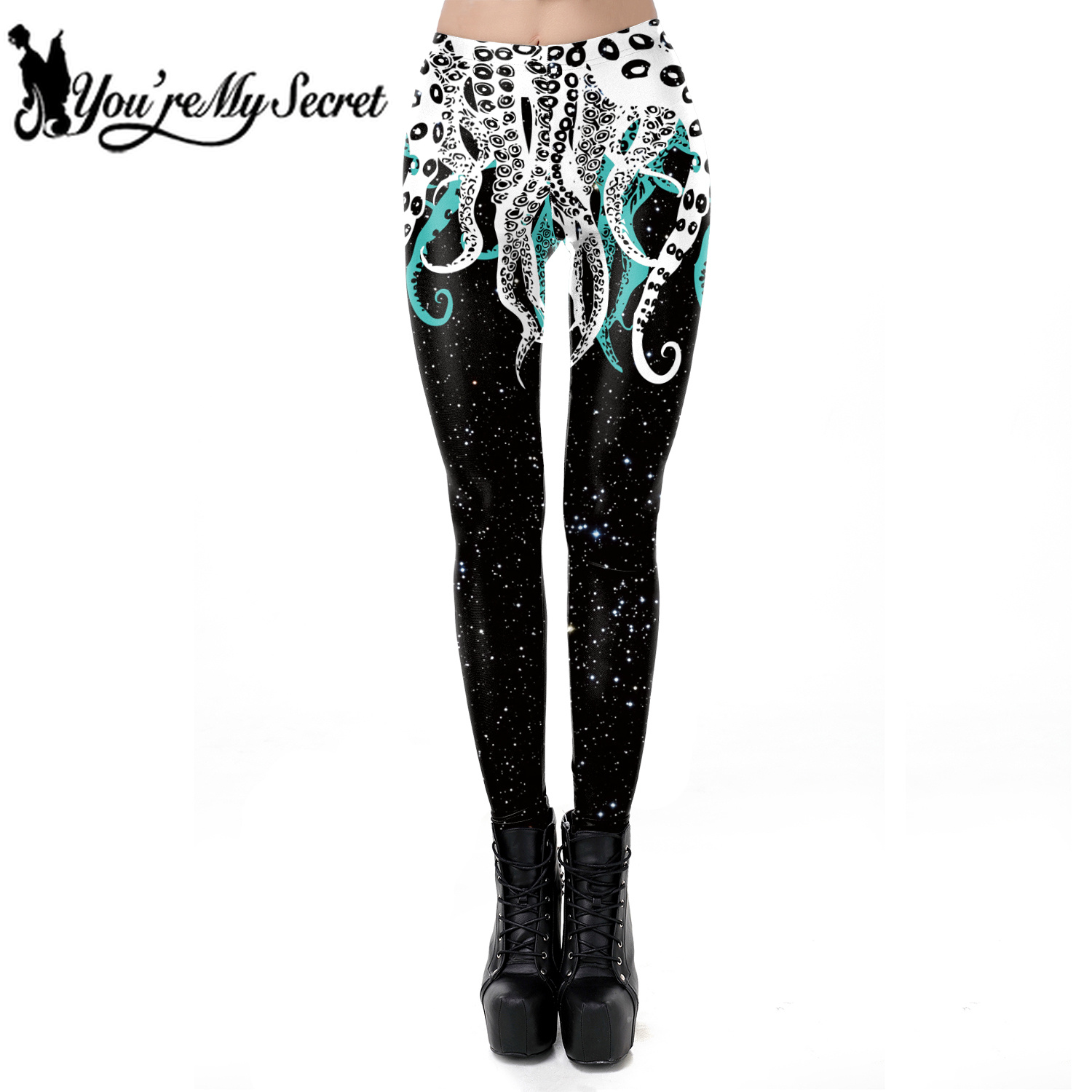 [You're My Secret] 2019 Hot Fashion Octopus Print Gothic Design Women Leggings High Quality Sexy Fitness Workout Ankle Pant