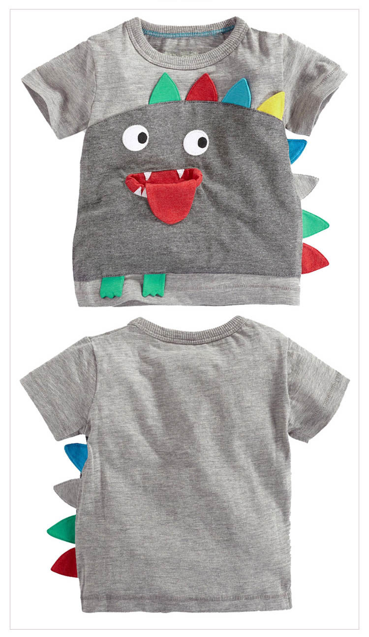 HTB1iRopMVXXXXaMXXXXq6xXFXXXD - retail gray boy T-shirts cartoon colorful dinosaur monster children kids clothes boy tops tees boy summer korean kids clothing