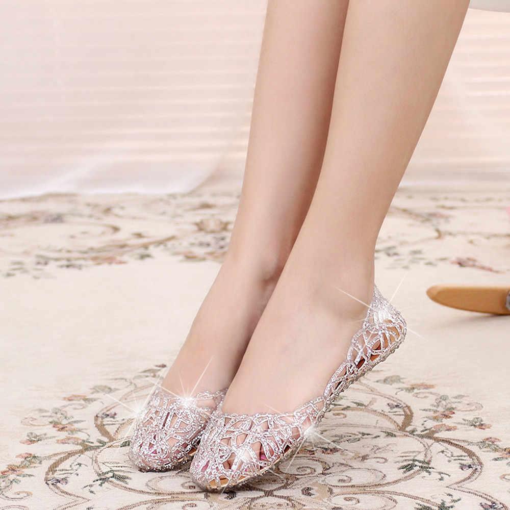 Phụ Nữ Giày Lười Nam Mùa Hè Lấp Lánh Jelly Giày Sáng Bóng Bao Đầu Thun Cao Cấp Giày Cho Nữ Zapatos Mujer Bằng Giản