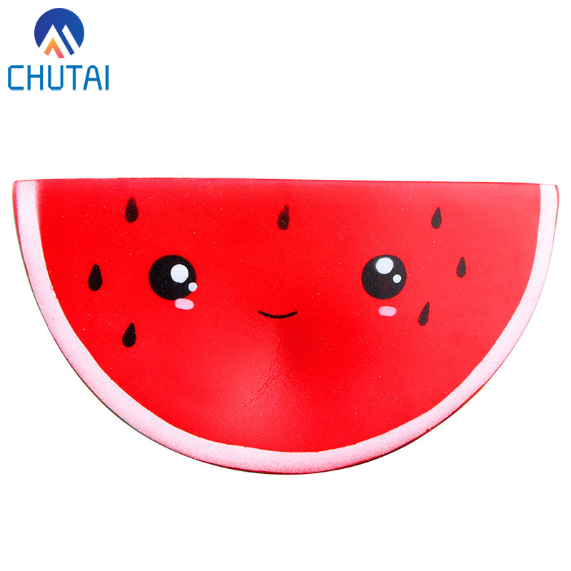 Jumbo Simulation Fruit Squishy Cute Smiley Watermelon Cream Squeeze Toy Slow Rising Decompression Toys 16*8*5CM