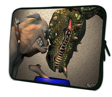 Funny dinosaur force and dog Laptop Cases 14 inch sleeve cases 14.1 14.2 14.4 Computer PC Portable Bag Cover Pouch Free Shipping