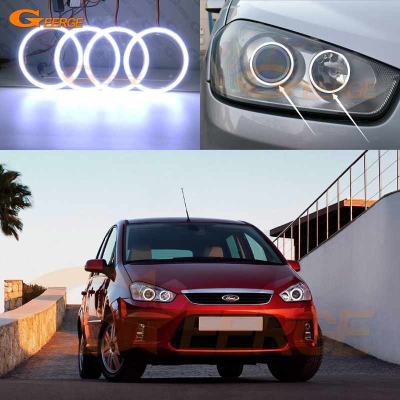 For Ford C-Max MkI 2008 2009 2010 Xenon headlight Excellent angel eyes Ultra bright illumination COB led angel eyes kit for alfa romeo mito 2008 2009 2010 2012 2013 2014 2015 excellent angel eyes ultra bright illumination cob led angel eyes kit