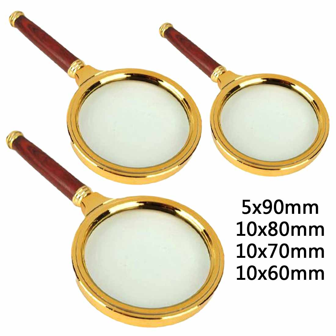 Portable 90mm/80mm/70mm/60mm Handheld 5X/10X Magnifier Magnifying Glass Loupe Reading Jewelry Eye Loupe Magnifier Repair Tool