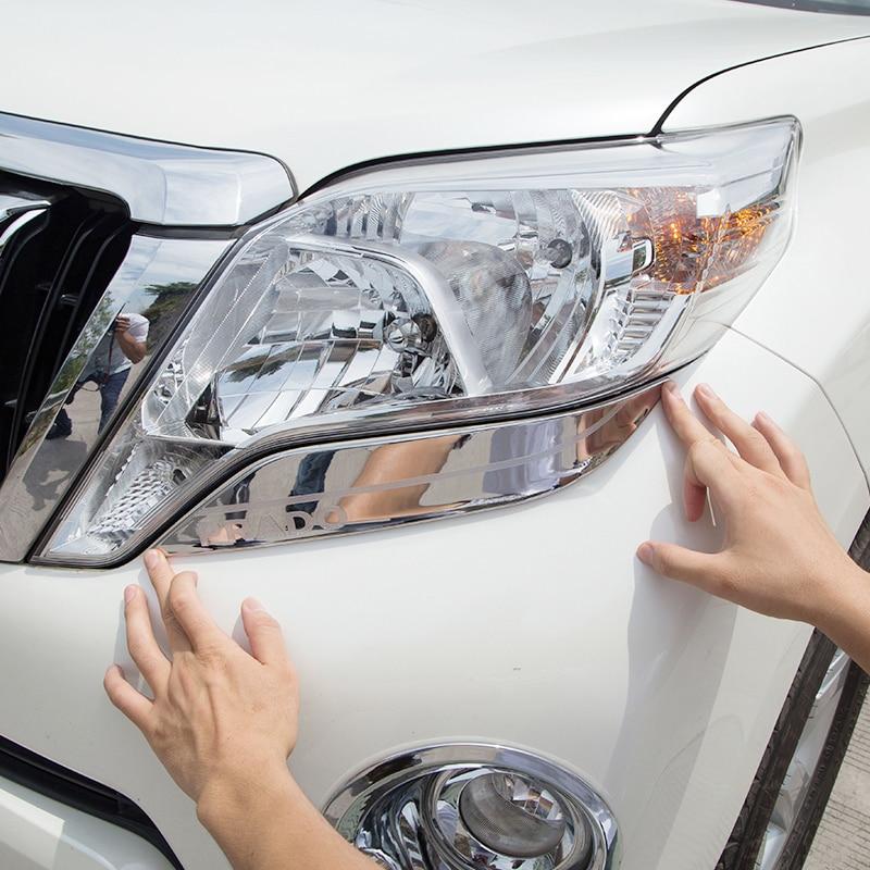 2PCS Chrome Front Bumper Trim Molding Cover For Toyota LC Prado FJ150 2014-2017