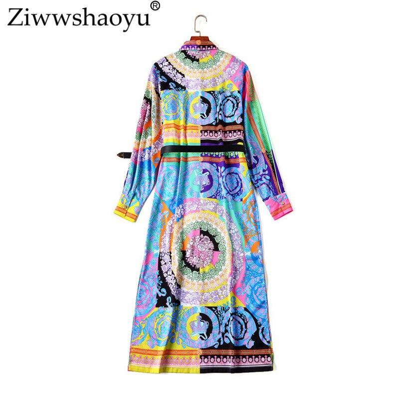 Ziwwshaoyu 5XL élégant imprimé Cardigan robe Vintage ceintures col rabattu robes droites 2019 printemps et été nouvelles femmes - 6