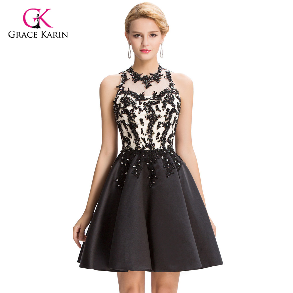 Luxury Cocktail dresses Grace Karin 2018 Short Black Lace Coctail dress V-opening back sexy robe de Cocktail Party Dresses